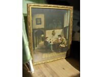 Antique Wall Picture ,Old dutch Picture With Gold Frame