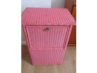 Selfridges lusty pink linen laundry box, cabinet, rear, unusual, vintage