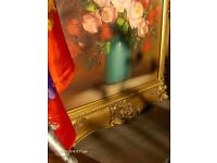 Vintage Oil Painting Still Life Pink Flowers in Vase