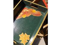Vintage Green Wooden Tray ,Serving Tray Handles Tea Coffee Breakfast Tray