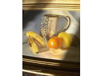Antique oil painting fruit still life with gold frame