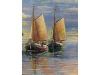 Large Vintage Oil Painting Harbour Seaside fishing Boats Landscape Art