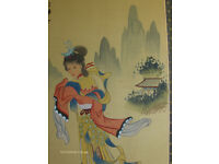 Chinese Large Vintage Oil Paintings On Canvas