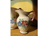 pair of Vintage pottery water jugs handpainted Flower Jugs Set