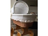 CAN POST - Offers - Very Large LEIPOLD or M J Mark 70cm x110cm TWINS Wicker Moses Basket Crib Stand