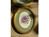 Vintage Oval Frames Floral Wall Pictures Set Of 5