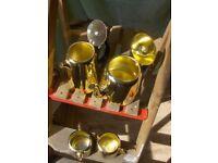 Vintage Towerbrite 4 piece tea set in Gold 1960s