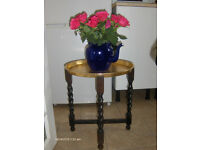 vintage wooden stand folding campaign table gold top , tea coffee table