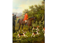 Large Original Oil Painting English Fox Hunting dogs and horses