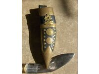 Antique Nepal Letter Opener With leather Case