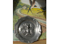 Large Antique Pewter Charger France Coat of Arms , Helmet Sword Wall Plate