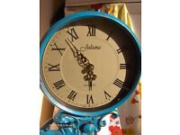 vintage clock , lady figure table clock in blue and gold