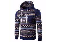 Men's Blue Hoodie | Aztec/Tribal pattern | Size - Medium