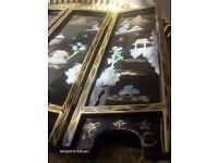 Vintage Chinese Table Top Folding 4 Panel Screen , Mother of Pearl Panel