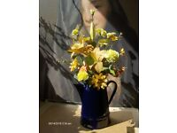 Vintage Blue Enamel Coffee Pot , flower pot