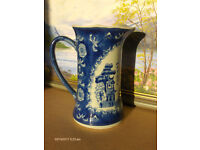 chinese antique Blue & white water jug With fisherman and 2 Birds