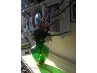 vintage artificial flowers with Beautiful Green Glass gold Vase , Indian Vase