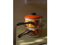 vintage pans set pots ,Enamel Vintage Flower Floral pots 1970s 60s