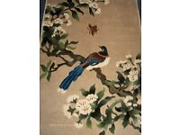 chinese vintage silk rug with bird tree