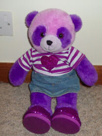 Design-a-Bear Purple Panda with clothes