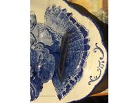 Antique Original 1890 Blue & White Large TURKEY Plate