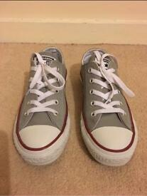 Grey Leather Converse - Size 4