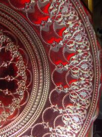Very Large Vintage Glass Bowl Red ND Silver
