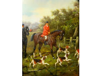 Large Antique Oil Painting English Fox Hunting dogs and horses