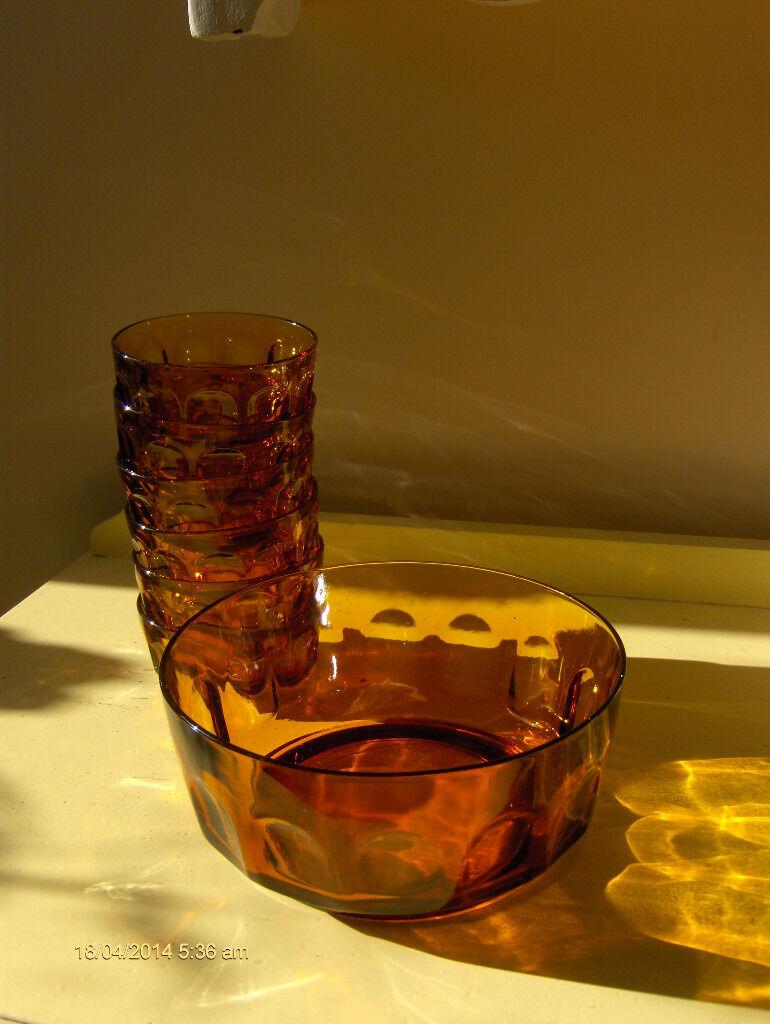 France Vintage Amber Glass Fruit Dessert Serving Bowls