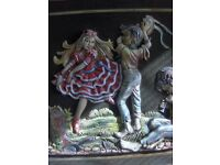 1960s 70s Wall Picture igypsy children dancing With horse and carriage