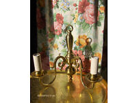 A Pair of Large Vintage Brass Wall Lights Antique Style Double Arm