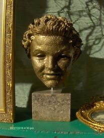 large Vintage Head Decor Figure Music Memoeabilia Head In Gold