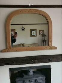 Vintage Pine Decorative Over Mantel Mirror