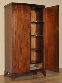 Attractive Small Vintage Mahogany Bow Front Double Door Fitted Wardrobe
