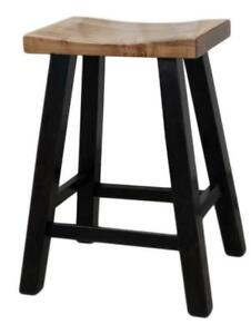 Mennonites Handcrafted Solid Local Maple Wood Heavy Duty Saddle Bar Stools - Free Shipping