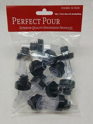 12 Black Clear Screened Liquor Bottle Pour Spouts Flair Pourers