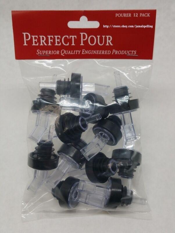 (12) Black & Clear SCREENED Liquor Bottle POUR SPOUTS Flair Pourers