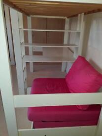 High sleeper bed with desk and futon