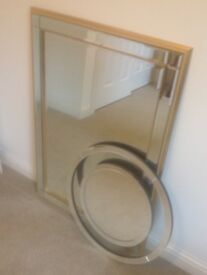Two Wall Mirrors - Laura Ashley Small Evie Mirror and John Lewis Marni Gold Mirror