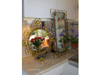 2 Vintage Brass Mirrors With Gold Flower Pattern Frame