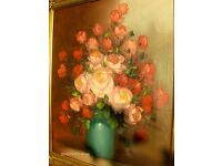 Vintage Painting Still life Painting With Ornate Frame Large