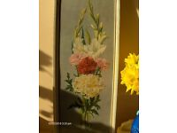 Vintage Flowers Wall Picture Still Life Floral In Frame