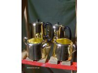 Vintage 1960s Coffee Tea Set In Gold , Stainless Tableware Set Towerbrite