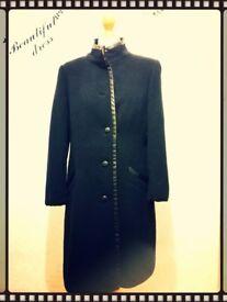 Black Smart Long Coat Size 12 Windsmoor