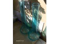 set of 2 blue glass vases