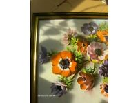 Vintage still life Wall Picture ,pink and purple floral picture