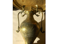 Antique Brass Persian Indian Twin Snake handled Vase,Large
