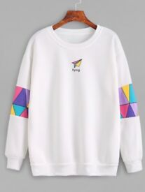White Patchwork Print Sweatshirt