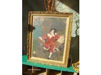 Antique wall picture, tapestry picture in gold frame