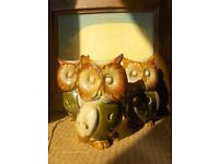 set of 3 Vintage Owl pottery Candle Holders